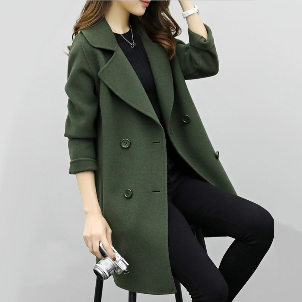 Women Wool Blend Warm Long Coat Plus Size Female Slim Fits Lapel Woolen Overcoat Autumn Winter Cashmere Outerwear manteau femme