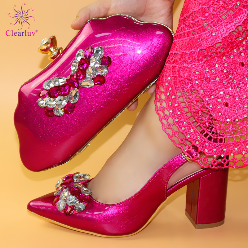 2019 Fuchsia Color Italian Design Shoes And Bags To Match Set Nigerian Women Wedding Shoes And Bags Sets With Applique