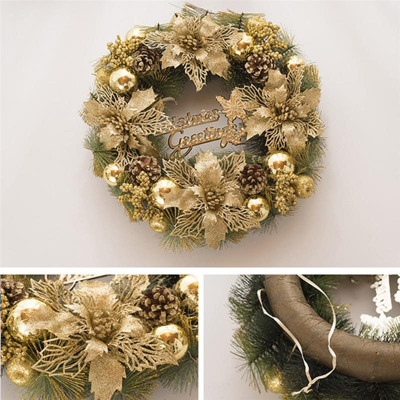 New Golden Exquisite Shining Door Wreath Decorative Flower Pinecone Artificial Hanging Wreath For Christmas Home Christmas Decor