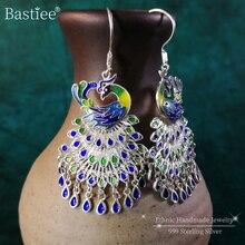 Peacock 999 Sterling Silver Drop Earrings For Women Tassel D