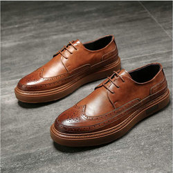 Luxury Brand Men's Oxfords Men Leather Dress Shoes Formal Wedding Party Shoes For Men Retro Brogue Business Shoes A21-40