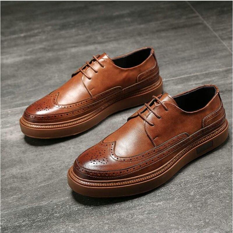 Zapatos de vestir de cuero para hombres de marca de lujo Oxfords zapatos formales de fiesta de boda para hombres Retro Brogue Business Shoes A21-40