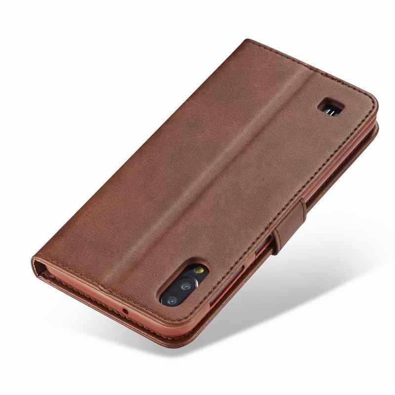 สำหรับSamsung Galaxy A10 กรณีธุรกิจหรูหราแม่เหล็กธรรมดากระเป๋าสตางค์กระเป๋าสำหรับSamsung M10 A 10 Coque