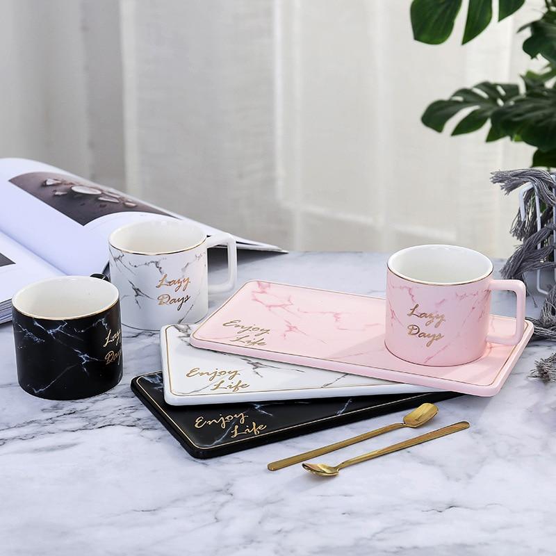 Tasse à café avec cuillère pour les amoureux | Ensemble créatif nordique de tasse de café, tasse brève avec cuillère, plateau ménage tasse à thé, Dessert pour le petit déjeuner assiette tasse pour les amoureux