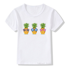 Pineapple fruits print funny t shirts summer boy girl clothes cute child t-shirts white camiseta children's clothing toddler tee майка print bar summer fruits