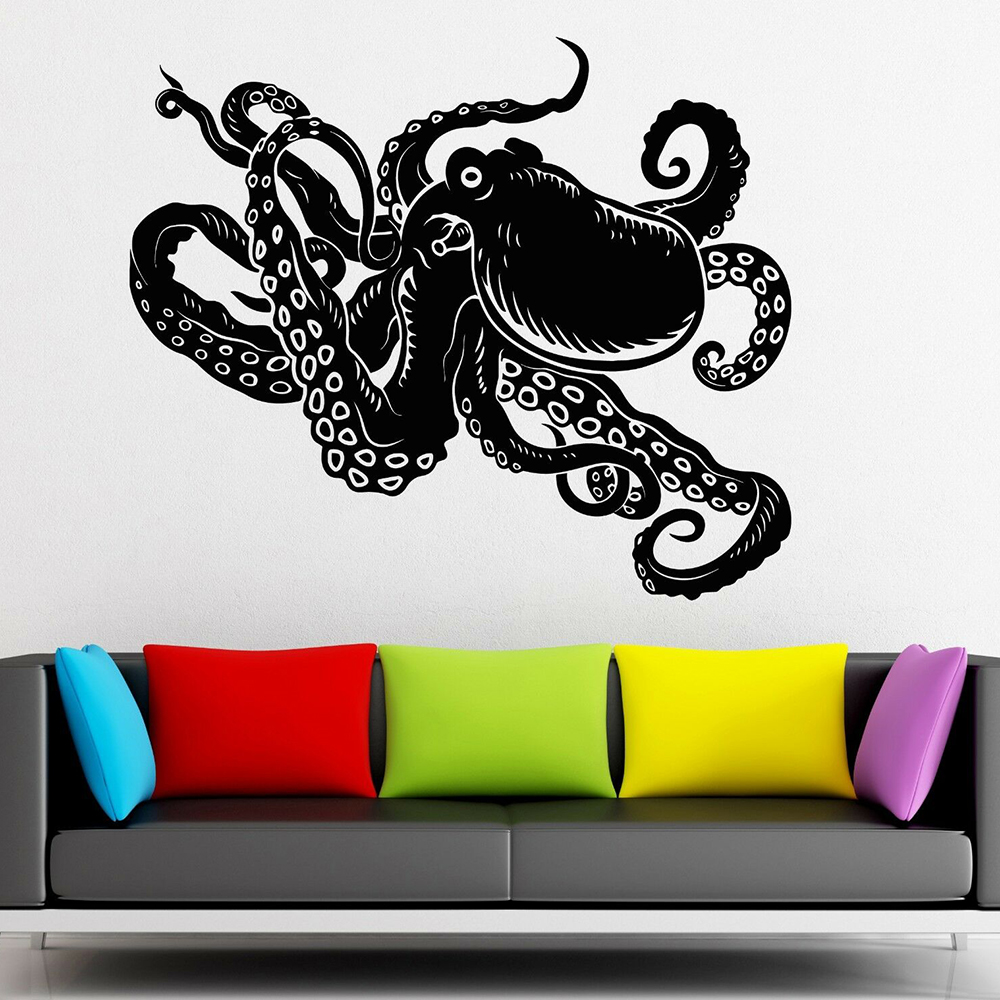 Nice Octopus Wall Sticker Marine Animal Vinyl Wall Decal Kids Room Nursery Wall Decor Waterproof Bathroom Decoration Mural X935