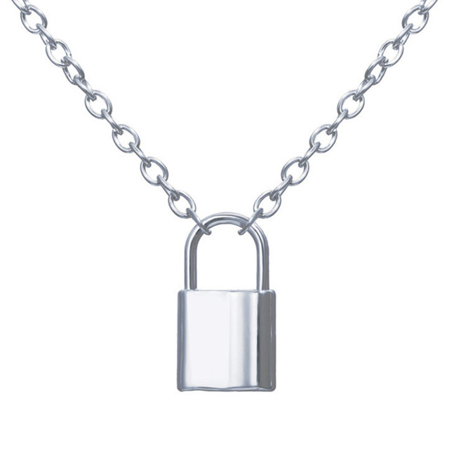 Stainless Steel Silver Color PadLock Pendant Necklaces link Chain lock Necklaces collar ras du cou collier femme for women men Accessories Jewellery & Watches Women's Fashion