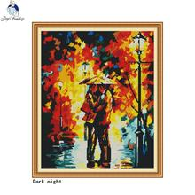 Dark night cross stitch DIY colorful art oil painting characters DMC 14ct11ct needlework embroidery kit home decoration painting