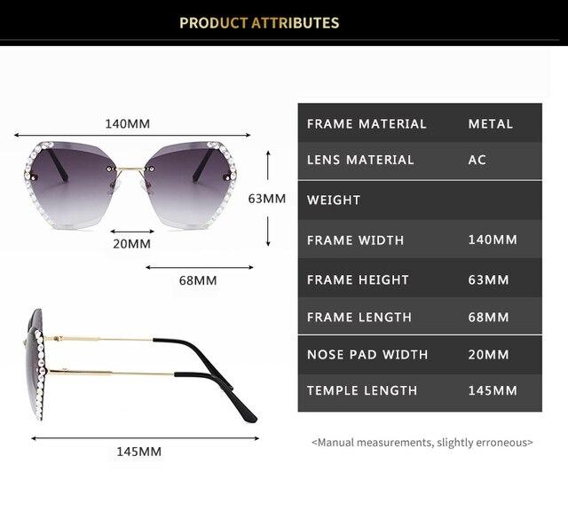 Vintage Fashion Oversized Rimless Sunglasses  5