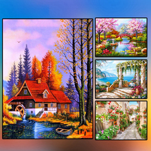 5D DIY Full Round Diamond Landscape Painting Mosaic Diamond Embroidery Decor Home Picture Of Rhinestone Handmade 5d diamond painting landscape waterfall diy full round diamond embroidery mosaic picture rhinestone home decor gift