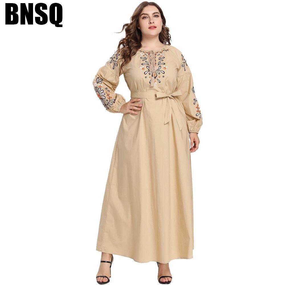 BNSQ grande taille décontracté Broderie Florale Robes Manches Longues Taille Prier Pakistanais Caftan Ramadan Vêtements Turquie Musulmane Dubaï