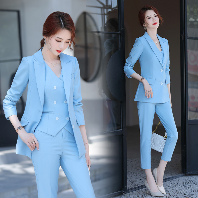 3 Piece Set Women Suits 2021 Elegant Ol Slim Blazer Suit Double Breasted Vest High Waist Skinny Ankle Length Pants Outfit Sets Hot Offer F2fc25 Cicig