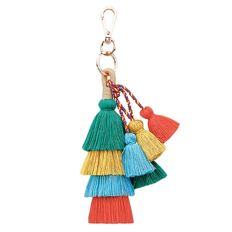 Vintage Boho Key Chain Multilayer Tassel Pendant Women Bag Hanging Ornament Woven Keychain Women Accessorie