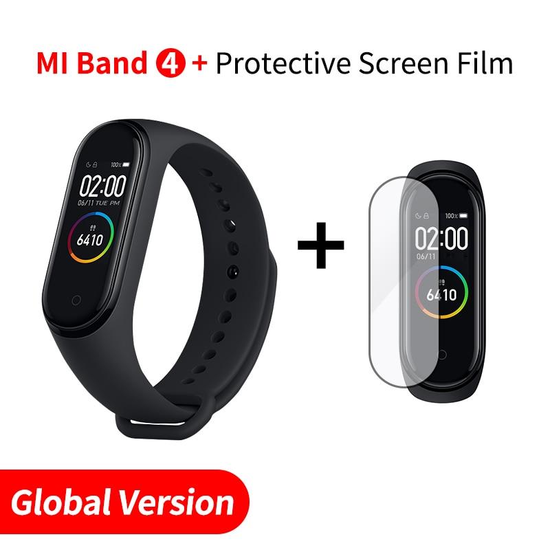 Xiaomi mi Band 4 Smart mi band 3 Цвета экран Браслет фитнес-трекер для измерения сердечного ритма Bluetooth 5,0 водонепроницаемый банда4 - Цвет: EN Add Screen Film