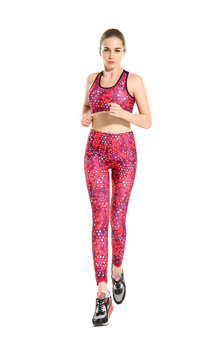 Rose Red Dot Slimming Hip Movement Breathable Super Elastic Quick Drying Nine Lady Pants Leggings
