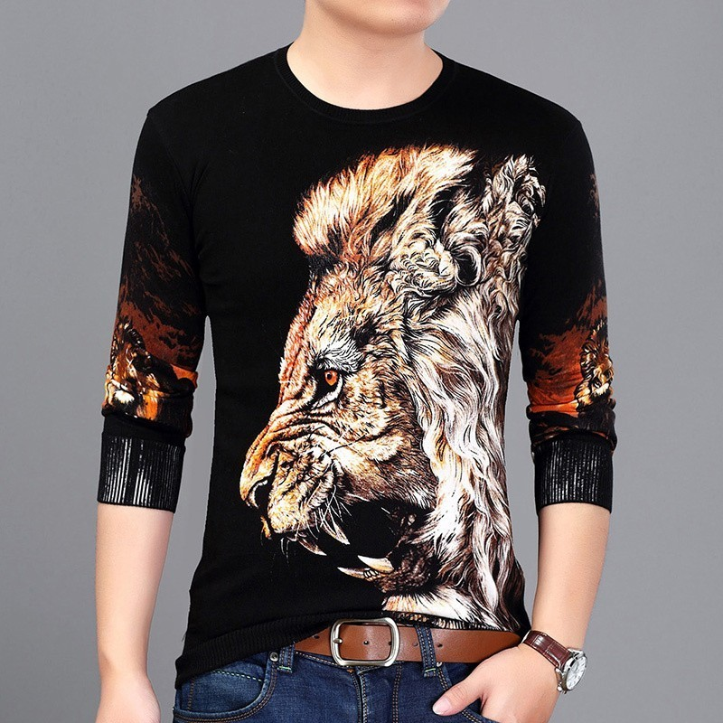2020 Spring Lion Head Painting Sweater Fashion Pullover Men Slim Fit Pull Pullover Men Clothes M-3XL