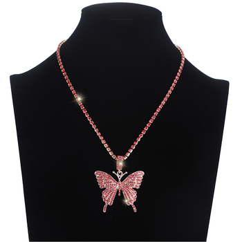 цена на Iced Out butterfly necklace chain Bling Rhinestone pendant Necklace statement Luxury Pink crystal Hip hop  Jewelry Accessories