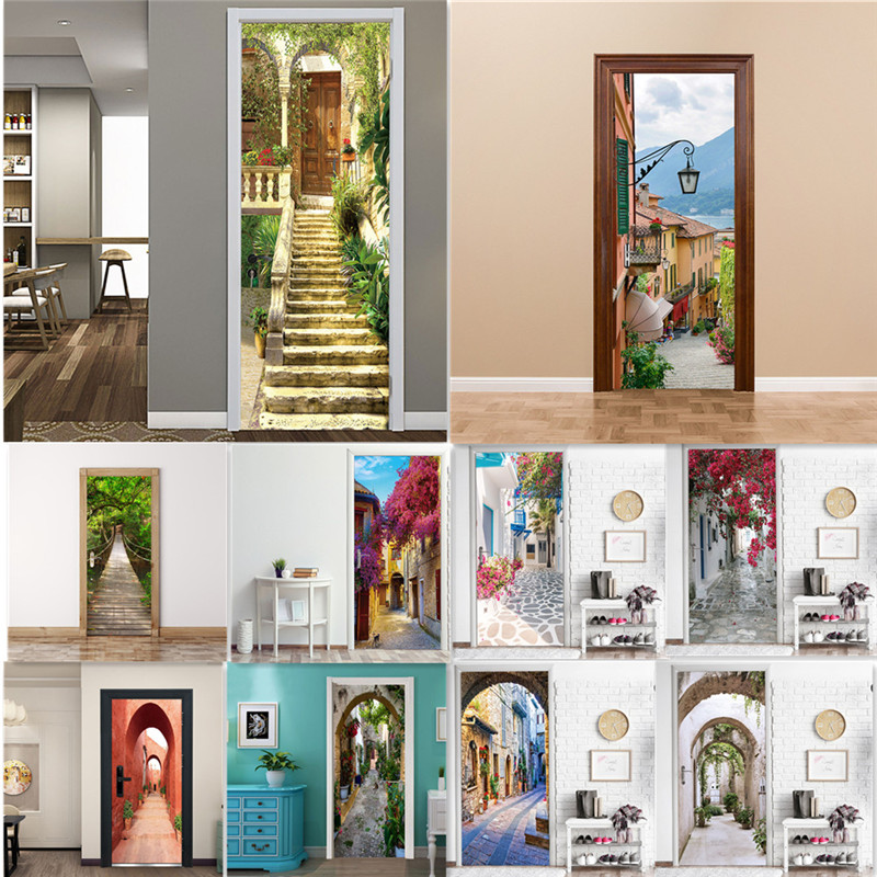 3D Street Scenery Sticker On The Door Home Decoration Self-adhesive PVC Wallpaper Road Lane Decal Alley Deursticker Porch Poster