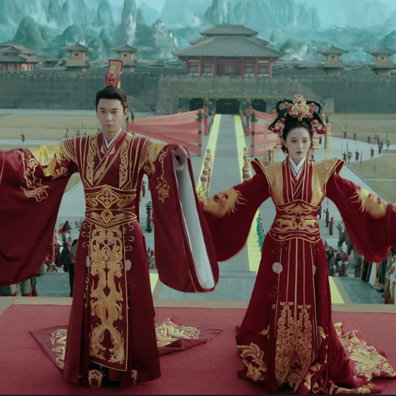 TV Play Dong Gong- Good Bye My Princess Prince Red Wedding Bride And Groom Delicate Embroidery Hanfu Costume With Long Train