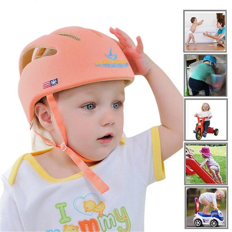 Capacete de segurança infantil ajustável protetor anti-choque espuma bebê chapéu da criança capacetes para andar rastejando protetor de headguard ca
