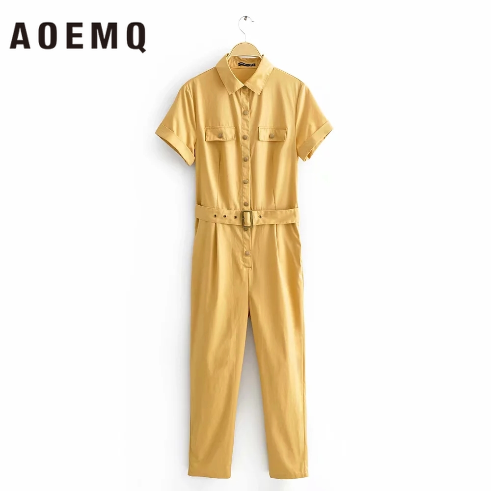 AOEMQ Fashion Jumpsuits Office Lady Stand Guard Cool Jumpsuits Policewoman With Belt Adjustable Waist Adults Jumpsuits For Women