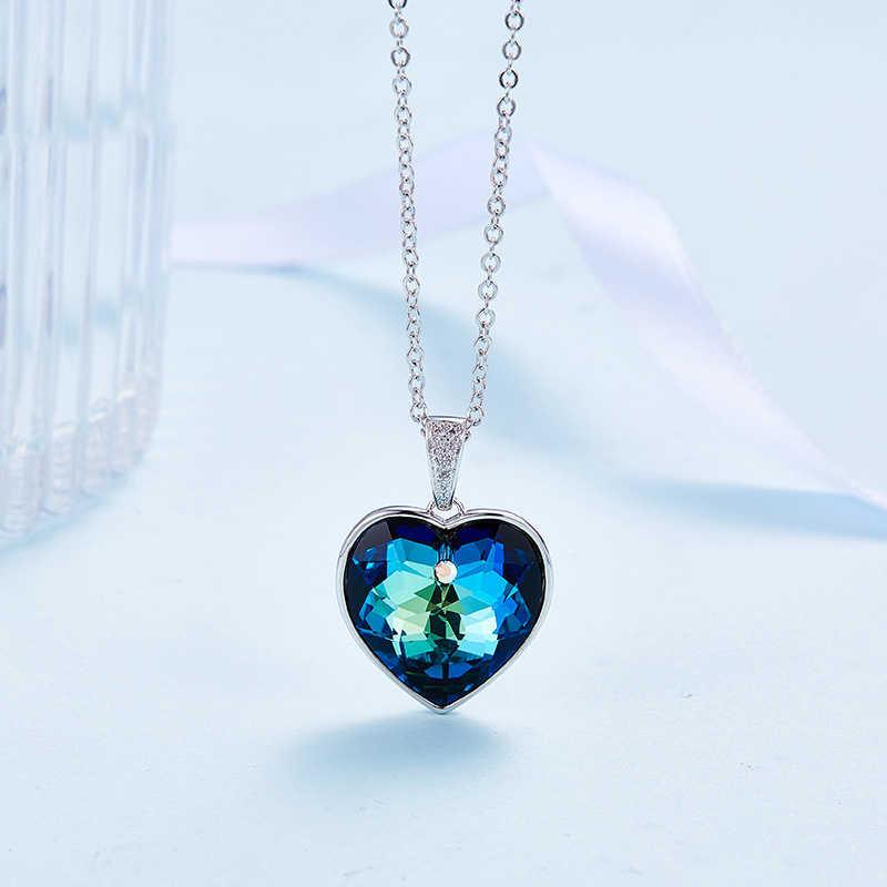 deslealtad Problema escena  Collar adornado con cristal de Swarovski Corazón de mar de amor colgante de  cristal azul joyería fina gargantilla collar| | - AliExpress