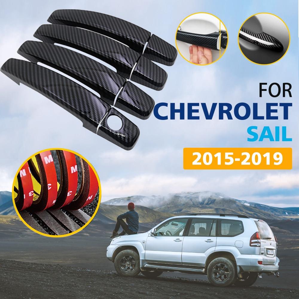 Puxadores das Portas em Fibra de Carbono Cor preta Capa Guarnição para Chevrolet New Sail Nuevo 2015 2016 2017 2018 2019 Acessórios Do Carro adesivos
