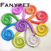 50 adet renkli Spiral dalga eğrisi folyo balonlar aile doğum günü partisi düğün dekorasyon duvar çıkartmaları şişme oyuncaklar