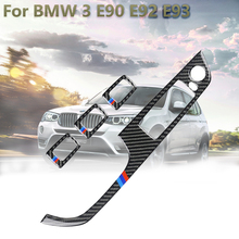 4PCS דלת חלון מתג Trims עבור BMW 3 E90 E92 E93 M ביצועים פנים Mouldings דקור מדבקה סיבי פחמן אביזרי רכב