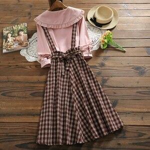 Image 2 - 2019 Autumn Women Two piece set Casual Long Sleeve Cotton Shirt Tops + Long Plaid Skirts Womens Suit Set 2 Piece Set Women