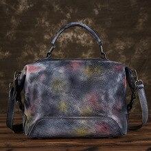 جوهناتشر رسمت باليد جلد طبيعي حقيبة يد فاخرة حقائب النساء 2020 جديد عادية حمل سعة كبيرة حقائب الكتف و Crossbody