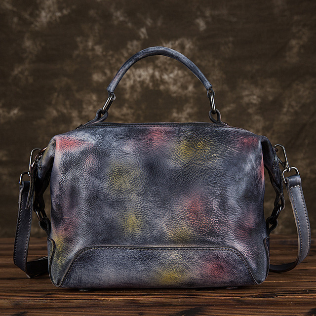 Johnature Hand Painted Genuine Leather Luxury Handbags Women Bags 2020 New Casual Tote Large Capacity Shoulder & Crossbody Bags