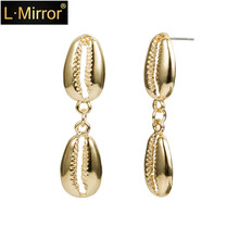 L.Mirror 1Pair Boho Style Cowrie Shell Earrings Natural Seashells Shells Dangles Drop  Beach Fashion Jewelry New