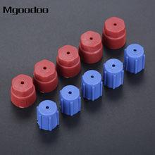 Mgoodoo tampa de serviço de carro, 10 peças, sistema a/c, porta de carregamento, r134a, válvula lateral alta, baixa, adaptador, tampa para poeira ar condicionado automotivo azul vermelho