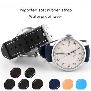 Image 1 - 20 Mm 22 Mm Universal Siliconen Horloge Bands Voor Seiko Sport Rubber Voor Breit Ling Band Horlogeband Voor Samsung gear S3 Armband Blauw