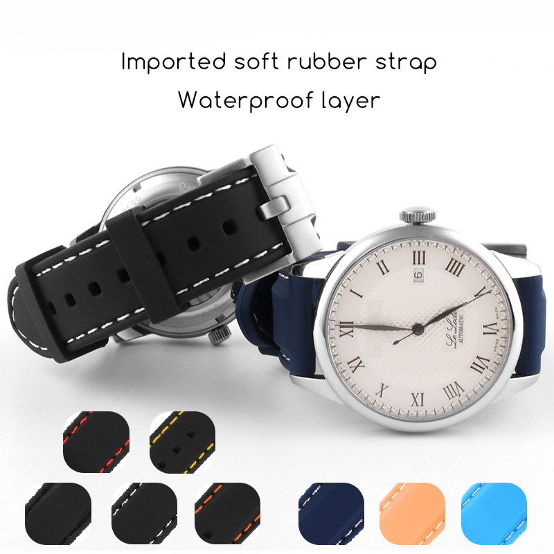 20mm 22mm Universal Silicone Watch Bands For Seiko Sport Rubber For Breitling Strap Watchband For Samsung Gear S3 Bracelet Blue