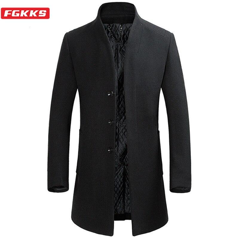 FGKKS Brand Men Winter Wool Blends Coat Men's Warm Casual Long Section Coat Fashion Male Windproof Slim Fit Woolen Coats Tops