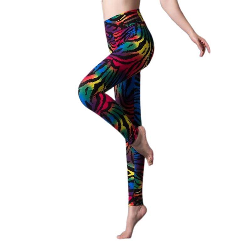 Women Plus Size 80s Style Neon Leggings Animal Zebra Leopard Print Slim Vintage Fitness Cosplay Party Mid Rise Pants