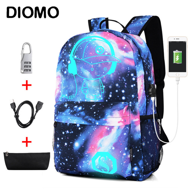DIOMO Cool Luminous School Bags for Boys and Girls Backpack with USB Charging Anime Backpack For Teenager Girls Anti theft