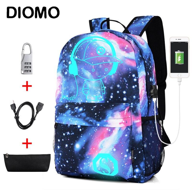 DIOMO bien luminosa bolsas para la escuela de los niños y las niñas mochila de carga USB de Anime mochila para niñas adolescentes Anti-robo