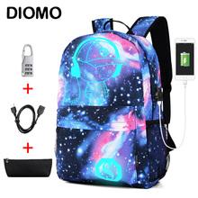 DIOMO fajne świecące torby szkolne dla chłopców i plecak dla dziewcząt z ładowaniem USB Anime plecak dla nastolatek przed kradzieżą tanie tanio Nylon zipper 1594 Other 30cm Chłopcy 14cm 45cm 0 34kg