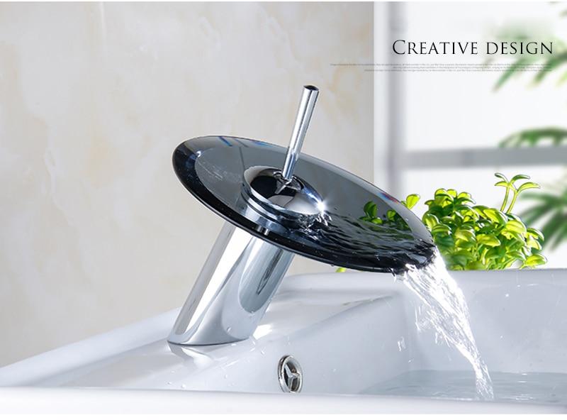 Hbc1c8a5d5fde4974918ed6880e701e3bg Colorful Glass Waterfall Bathroom Basin Sink Faucet Chrome Basin Sink Faucet Single Lever Deck Mounted Round Mixer Tap