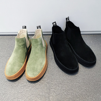 2020 Spring Men Shoes Suede Leather High top Men Casual Shoes Slip on Mens Loafers