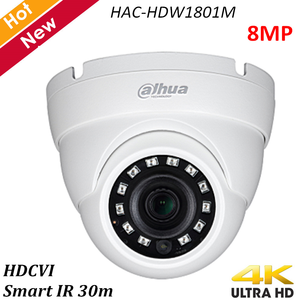 Dahua 4K HDCVI IR Eyeball Camera HAC-HDW1801M Fixed Lens Smart IR 30m Waterproof IP67 Indoor And Outdoor DC12V Security Camera