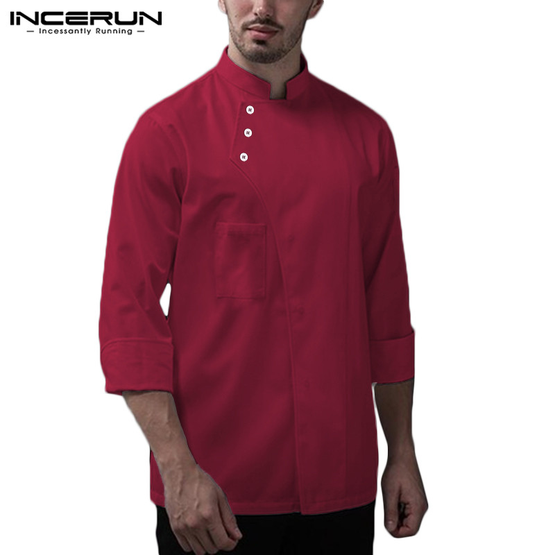 INCERUN Chef Uniform Food Service Restaurant Cooking Tops Long Sleeve Stand Collar Men Kitchen Jackets Solid Color Costume S-5XL