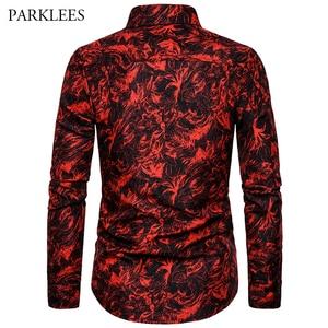 Image 3 - Rot Druck Mode Nachtclub Party Sexy Design Shirts Männer der 2019 Neue Casual Slim Fit Trend Lange Hülse Hemd Männer der Kleidung