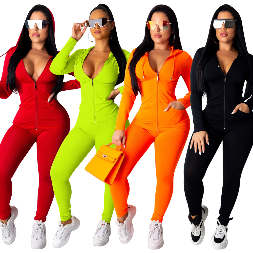 2019 Explosion Models Europe And The United States Sexy Casual Two-piece Long-sleeved Trousers Women's Solid Color Suit