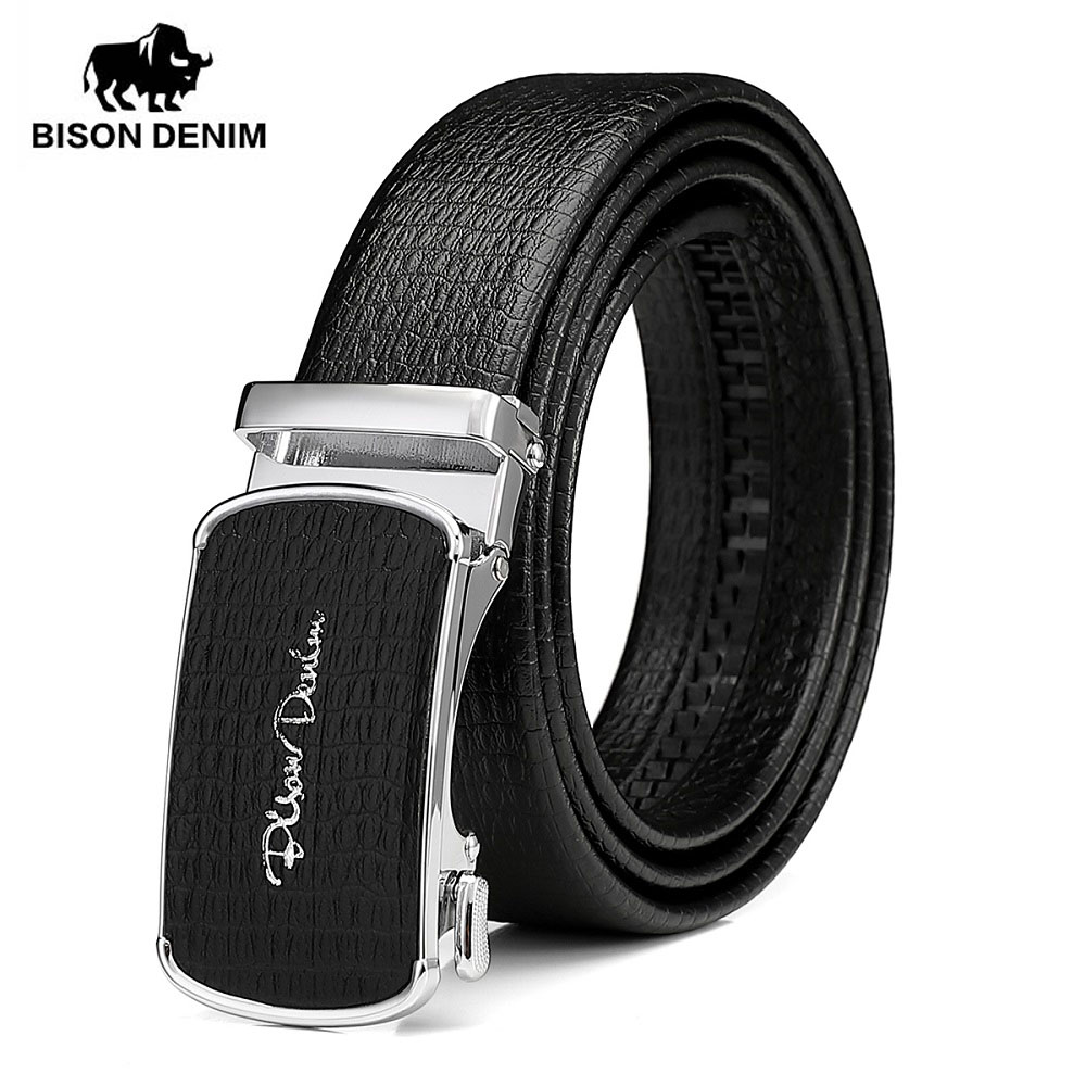 BISON DENIM Genuine Leather Belt For Men Automatic Alloy Buckle Luxury High Quality Cow Leahter Strap Male Belt N71515