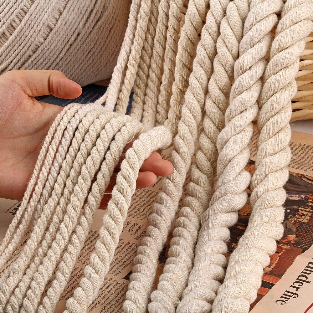 Torcida 100% algodão, 5/10m 6mm/8mm/10mm/12mm 3 partilhos cordas torcidas de algodão para saco, acessórios têxteis domésticos faça você mesmo
