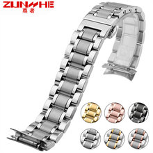 цены watch strap steel belt male solid stainless steel watch strap with the common arc mouth precision steel watch chain18 20 22 24mm